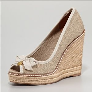 Tory Burch Jackie Wedge Peep-toe Espadrilles 8